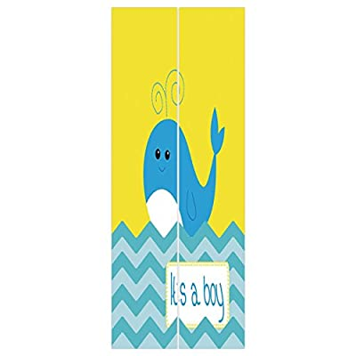 3d Door Wall Mural Wallpaper Stickers [ Gender Reveal Decorations,Its A Boy Quote with Whale Swimming My Son Cute Funk Art,Yellow Blue Teal ] Mural Door Wall Stickers Wallpaper Mural DIY Home Decor