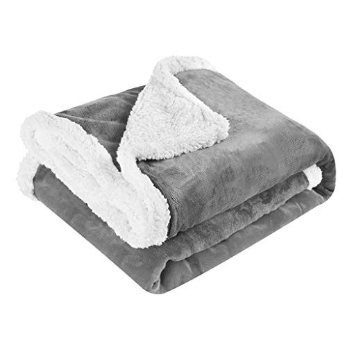 LANGRIA Luxury Sherpa Flannel Fleece Reversible Blanket Ligh