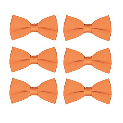 Bowties Orange (Men's Bow Tie Wholesale Pre-Tied Formal Tuxedo Solid Bowties 6 Pack (Orange))