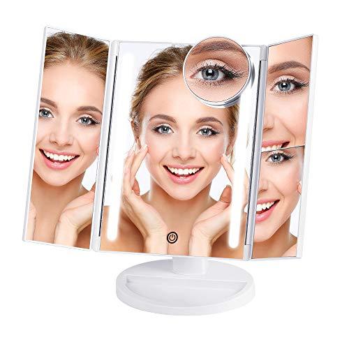 NEX Tri-Fold Lighted Vanity Makeup Mirror with 24
