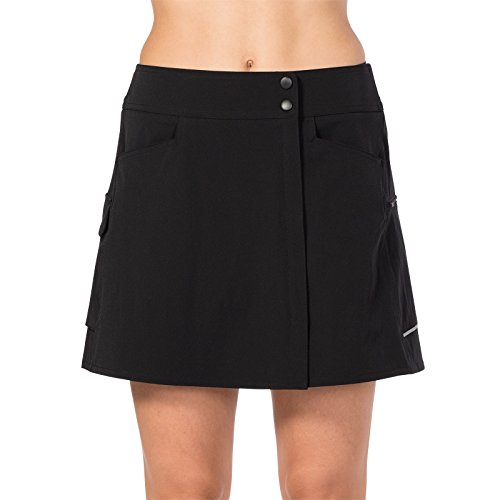(Terry Metro Skort Women's Cycling Athletic Sport Skirt Stretch Wrap with Padded Chamois Liner Bike Shorts – Black – X)