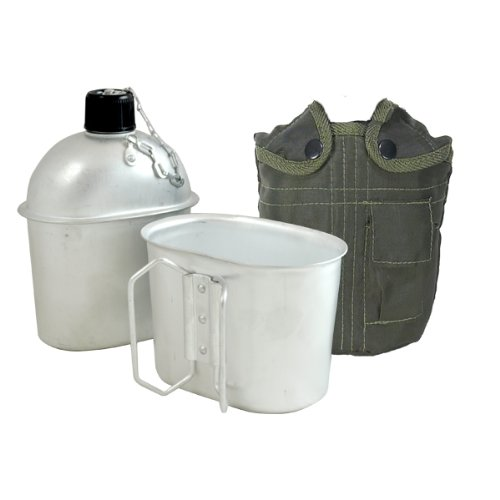 Fury G.I. Style Aluminum Canteen with Cup and Cover, 1 Quart by Fury