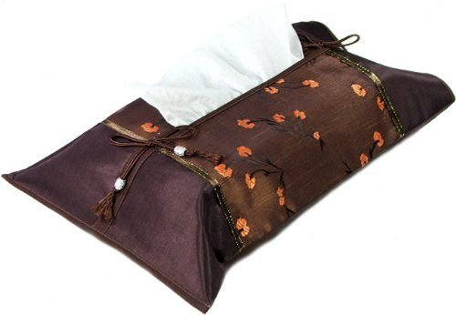 PAPAYA SHOP Brown Silk Kleenex Tissue Box Cover with Brown Oriental Floral