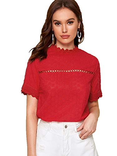 - Floerns Women's Short Sleeve Mock Neck Sheer Crochet Plain Lace Top Blouse Red XS