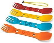 UCO Utility Spork 3-in-1 Combo Spoon-Fork-Knife Camping Utensil, 4-Pack