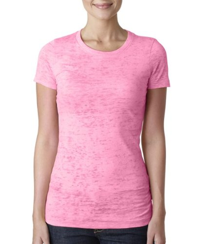 Next Level Baby Rib-Knit Crewneck Burnout Jersey T-Shirt, S, NEON PINK