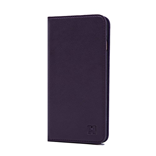 Sophisticated Satin Purse - 32nd Classic Series - Real Leather Book Wallet Case Cover for Apple iPhone 7 Plus & 8 Plus, Real Leather Design with Card Slot, Magnetic Closure and Built in Stand - Aubergine