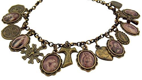 Bronze Tone All Saints St Benedict Virgin Mary Charm Bracelet, 8 Inch