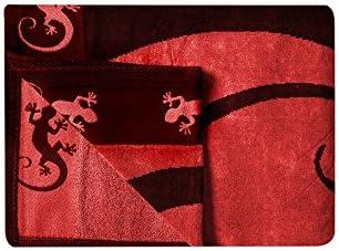 100/% cotone egiziano MOD: Set Telo spiaggia GRANDE GECKO c Calza PACK marchio TIENDADELEGGINGS tecnici anti-Max rosso 412 95 x 175 cm