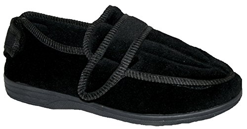 MENS OR WOMENS DIABETIC ORTHOPAEDIC COMFORT LUXURY SLIPPERS SHOES WIDE FIT ADJUSTABLE VELCRO LADIES SIZE UK 7-12 Black sH0oZFqQ