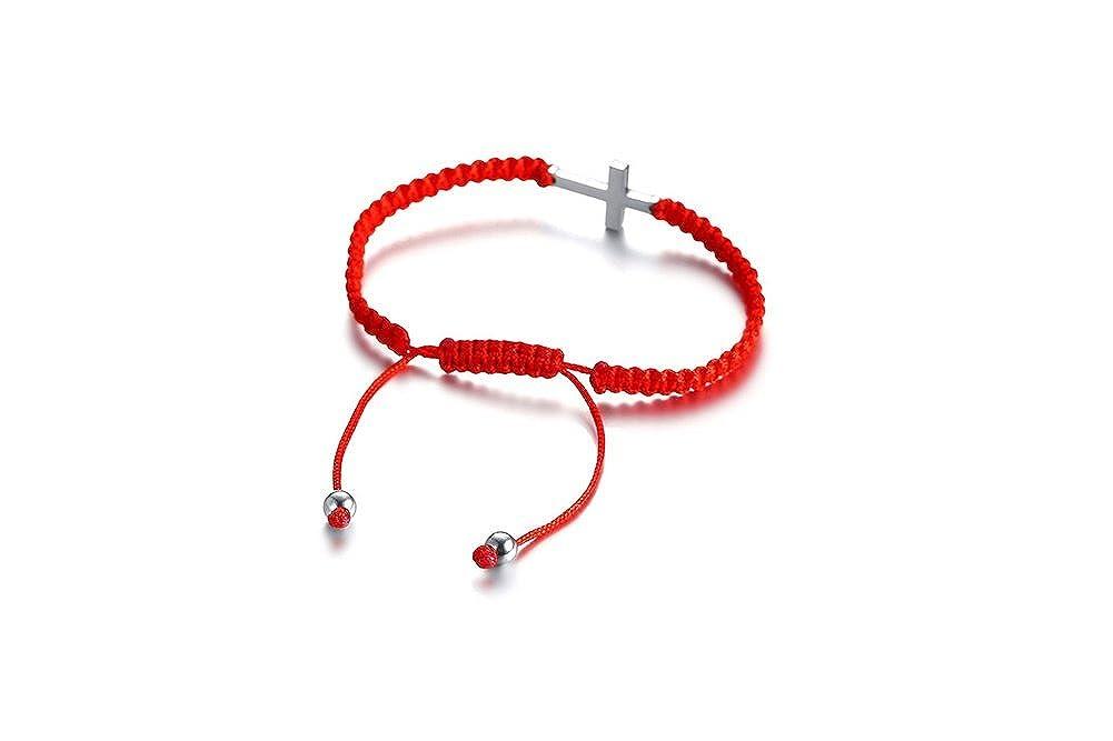 MPRAINBOW Customize Engraving Cross Bracelet Name Date Oath ID Religious Nylon Braided Handmade Bracelet Red Adjustable 15-26CM