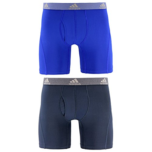 adidas Men's Relaxed Performance Climalite Boxer Brief Underwear (2 Pack), Bold Blue/Urban Sky, Large