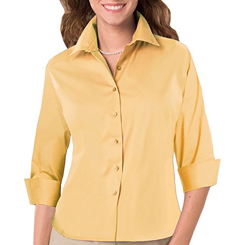 Blue Generation BG6330 - LADIES 3/4 SLEEVE FINE LINE TWILL (XL, Maize)