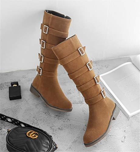 Gamuza Botas Otoño 35 Muslo Cremallera Sobre Hebilla Caliente Brown 42 Zapatos Mantener Negro Invierno Rodilla Marrón Mujer Altas Talla Moda HN Boots HIEZPP