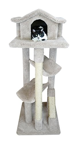 - New Cat Condos 110206-Neutral Color Solid Wood Cat House, Neutral, Large