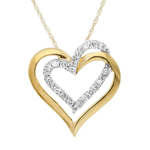JewelExclusive 10K Yellow Gold 1/4 cttw Diamond Double Heart -