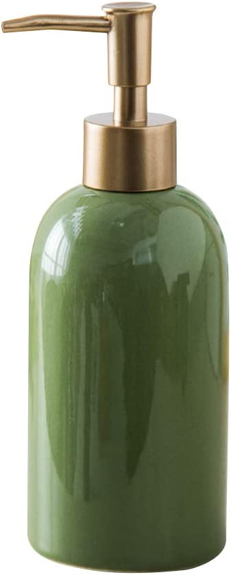 Fivtyily Simple Style Soap Dispenser Refillable Ceramic Lotion Bottle for Liquid Organic Soap Hand Dispensers Soaps Shampoo Lotions (Green)