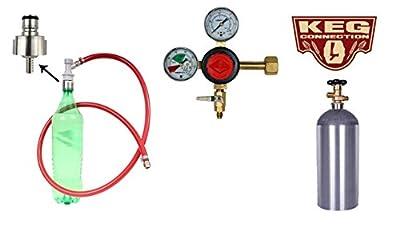 Carbonating Kit, Soda, Taprite Regulator, 5# Co2 Bottle, Stainless Steel Carbonation Cap by Kegconnection