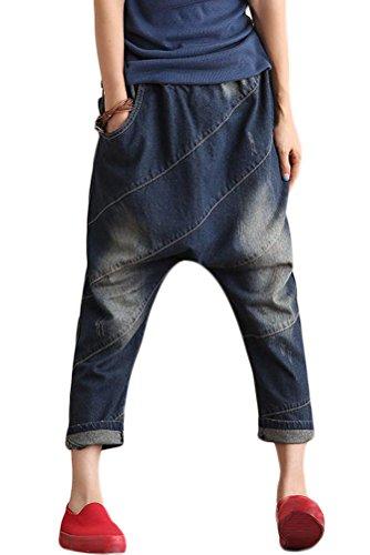 Destroy MatchLife Jeans Pantacourt Bouffant Pantalon Femme Dlave avec Fonc Harem Culotte bleu Style1 Longue Patch rxpFAr