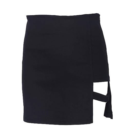 LLAni - Faldas de cadera estilo coreano color negro con dobladillo ...