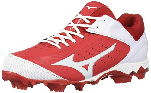 Mizuno Women's 9-Spike Advanced Finch Elite 3 Fastpitch Cleat Softball Shoe, Red/White, 8 B US