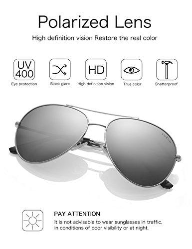 gafas LUENX conducción de plateado sol de Hombre Aviador Protección con UV polarizado 400 60mm 5 el caso ff5qS