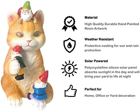 Solar Powered Cat Garden Gnome - Resin Art Statue Figurine Mischievous Naughty and Whimsical for Indoor Outdoor Funny Decor As A Yard Lawn or Home Gift (Orange)