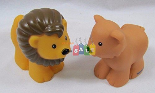 Noahs Ark Animals Zoo - Fisher Price Little People Replacement Animals, Noah's Ark Zoo, Lion Pair, Male & Female, Lighter Male Style