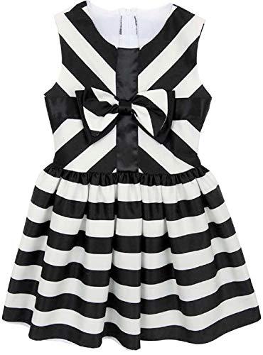 Rare Editions Girls Black White Stripe Satin Size 2T-6X Bow Dress (6X)