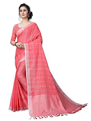 Checks Cotton Linen Saree with Stitched Blouse (Large-38, Peach) ()