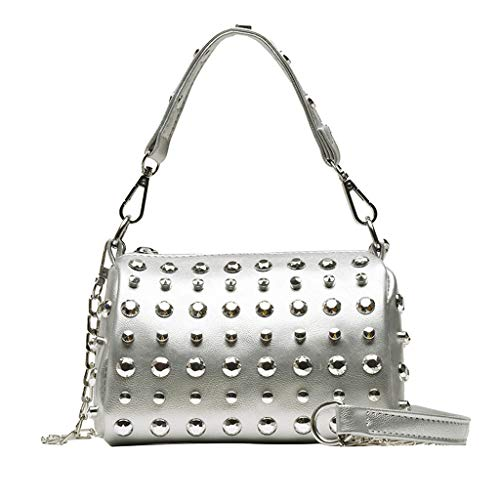 Womens Shoulder Bag with Bling Rivets,Girls Ladies Soft PU Small Crossbody Bags Mini Clutch Purse Handbags Party Bags