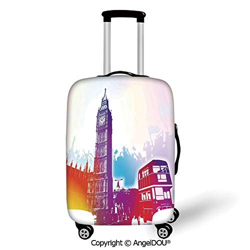 AngelDOU Printed Thicker Travel Suitcase Protective Cover London Historical Big Ben and Bus Great Bell Clock Tower UK Europe Street Landmark Purple Red Yellow Luggage Case Travel Accessories.