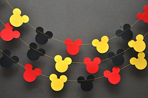 Mickey Mouse Garland - Paper Garland -Party Supplies - Club House Inspiration - Mickey Head Garland - Tricolor Mickey Head Garland Mickey Paper garland, Birthday decor Mickey garland Mickey decoration (Mickey Mouse Baby Shower Ideas)
