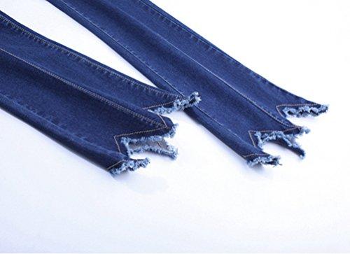 Casuale Dooxi Donna Bootcut Jeans Alta Pantaloni Fit Blu Scuro Moda Slim Vita Denim YHxdrYF