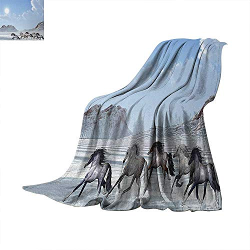 Horses Digital Printing Blanket Herd of Wild Noble Horses Run in The Snows of a Fresh Winter Day Glorious Picture Summer Quilt Comforter 62