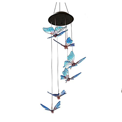 SINLOOG Solar Wind Chimes Outdoor, Solar lights Wind Chime Solar Powered LED Hanging Lamp Solar Mobile Wind Chimes for Outdoor Garden Decoration (butterfly) by SINLOOG