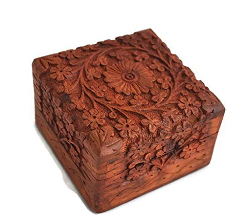 Artisans Of India Intricate Wooden Jewelry Trinket Box Small Keepsake Storage Organizer with Hand Carved Floral Design -