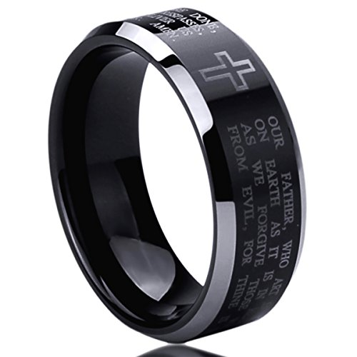 8MM Titanium Comfort Fit Wedding Band Ring Lord's Prayer with Cross Praying Black Ring (6 to 14) - Size: -