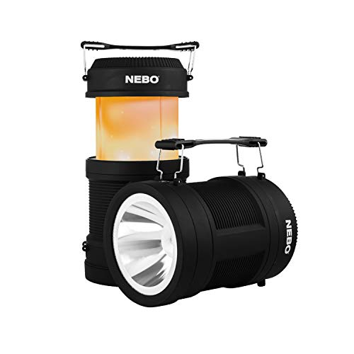Big Poppy Rechargeable Lantern Flashlight: 300 lumen lantern, 120 lumen spot light, flickering flame mode, rechargeable and also serves as a power bank – NEBO 6908