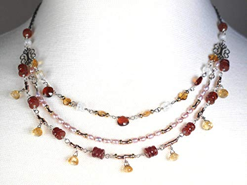 Citrine And Garnet Triple Strand Necklace