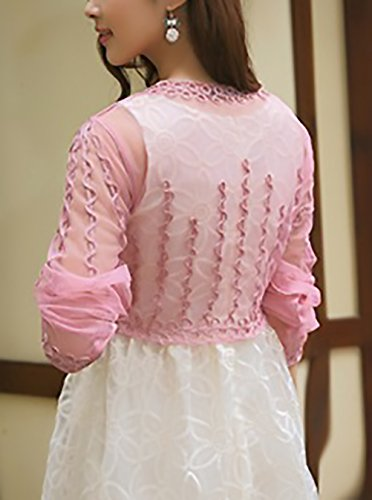Cardigan Estivo Stola Manica Lunga Trasparente Elegante Coprispalle Ragazze Bolero Sottile Top Cerimonia da Giovane Pizzo Pink Donna vrBwv