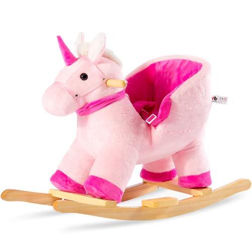 Plüsch Schaukeltier, Einhorn Schaukelwippe, Kinder Schaukelstuhl, Schaukelpferd, Plüsch Schaukel für Babys und Kleinkinder, Schaukelspielzeug Geschenk für 10-36 Monaten Kinder (Pink)