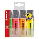 Stabilo BOSS Original Highlighter, Yellow/Orange/Pink/Green - 4-color Wallet Set