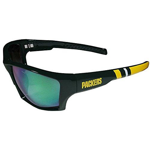 Siskiyou NFL Striped Team Sports Wrap Polarized Sunglasses (Green Bay Packers, Green | Smoke Polarized) (Plastic Striped Sunglasses)