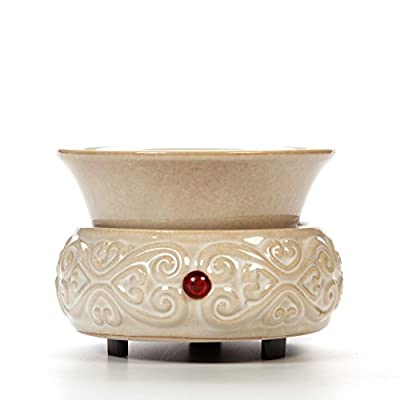 Hosley Cream Ceramic Fragrance Candle Wax Warmer. Ideal for spa and aromatherapy. Use with HOSLEY brand wax melts / cubes, essential oils and fragrance oils.