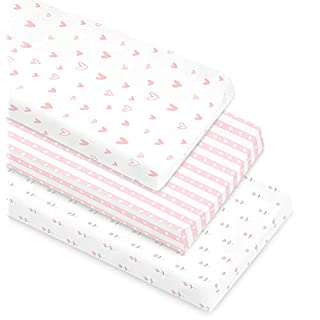 Cambria Baby 100% Organic Cotton Changing Pad Covers or Cradle Sheets with Reinforced Safety Strap Holes. Soft, Pre-Shrunk and Machine Washable. in a Pink/White Patterns for Girls. 3 Pack