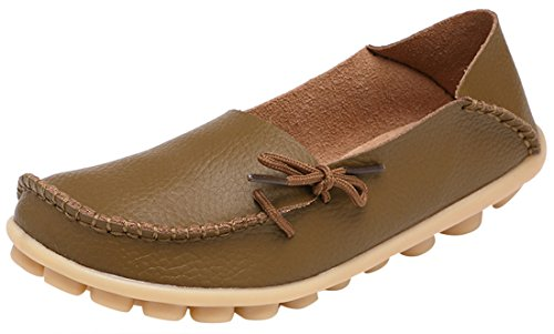 Serene Womens Brown Leather Cowhide Casual Lace Up Flat Driving Shoes Boat Slip-On Loafers - Size 7