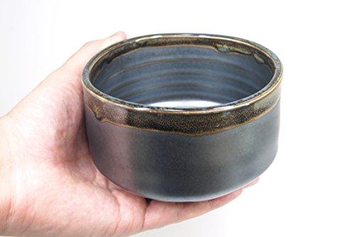 Japanese Handcrafted Matcha Tea Bowl Black, Matcha Tea Cup Ceremony, Authentic Mino Ware Pottery, Kuro Oribe Chawan by Mino Ware (Image #7)