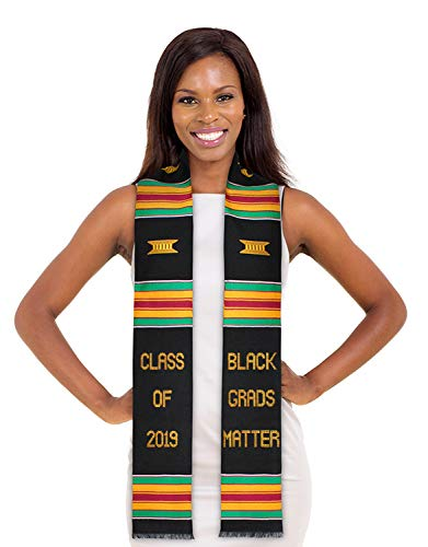 ADVANSYNC Black Grads Matter Class of 2019 Kente Cloth Graduation Stole and Our Daily Bread Book (Black Grads Matter ()