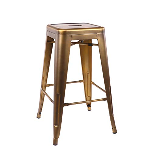 Design Lab MN Dreux Vintage Brass Steel Stackable Counter Stool 26 Inch (Set of 4)